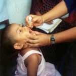 Child in Bangladesh receiving polio vaccine. Credit: Wikimedia Commons / USAID Bangladesh