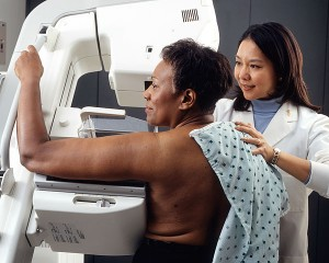 A woman has a mammogram. Photo credit: National Cancer Institute / Rhoda Baer (public domain)